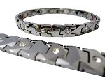 MENS MAGNETIC ENERGY BRACELET: SILVER PLATES WITH CZ DIAMONDS