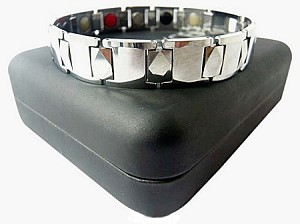 MENS MAGNETIC ENERGY BRACELET: SILVER PLAIN